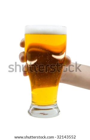 Beer mug in hand isolated on white background