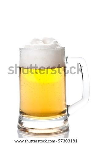 beer mug isolated on white background - stock photo