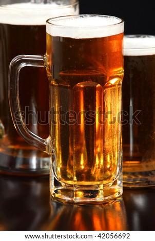 Beer mug on the table - stock photo