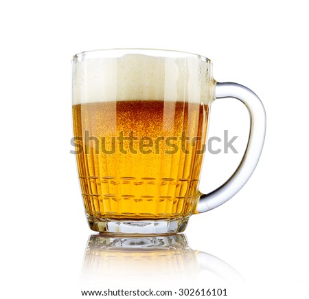 Beer mug on white background. File contains a path to isolation.  - stock photo