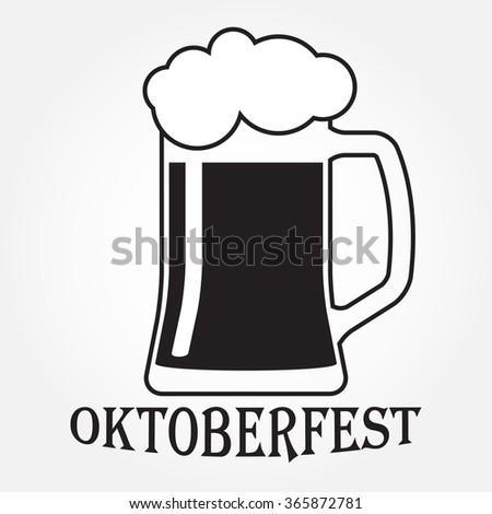 Beer mug or glass icon. Octoberfest beer symbol isolated on white background. - stock photo