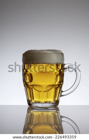 beer mug view with a white background - stock photo