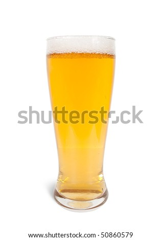 Beer mug with fress beer on white