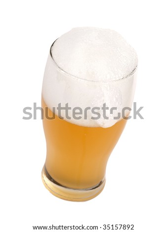 Beer mug with froth, isolated on white