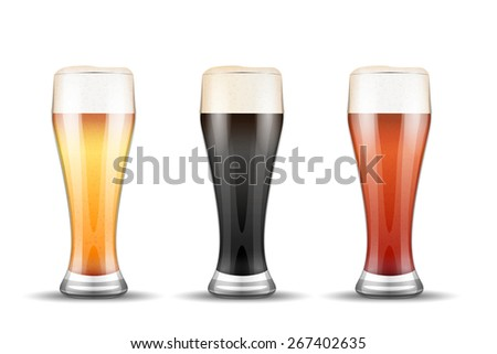 Beer mugs with three kind of beers. Lager, Porter and Ale. Vector Illustration isolated on white background. - stock photo