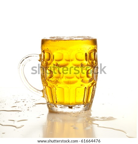 beer on glass - stock photo