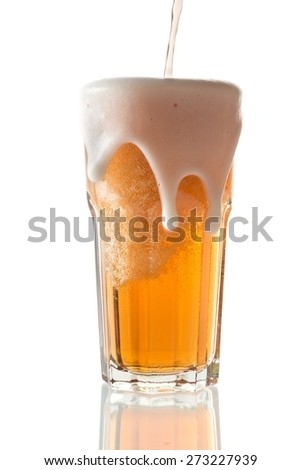 Beer, Pint Glass, Pouring. - stock photo