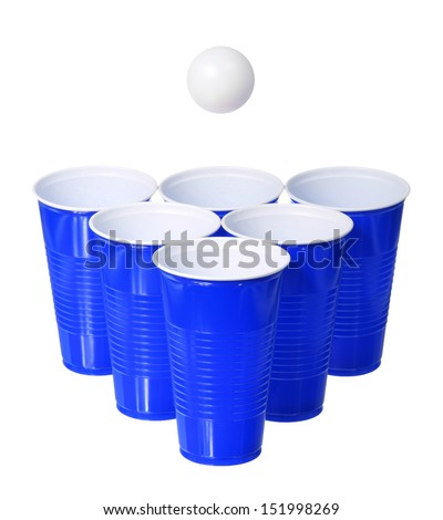Beer pong. Blue plastic cups and ping pong ball isolated on white background - stock photo