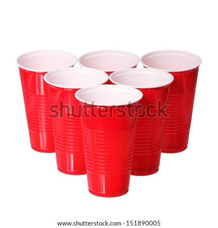 Beer pong. Red plastic cups isolated on white background - stock photo