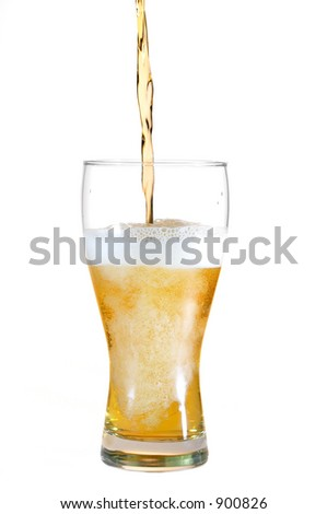 Beer poured into glass