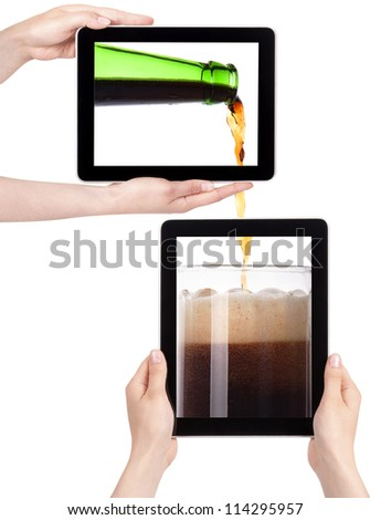 beer pouring from bottle in to the glass on a tablet screen isolated  on a white background