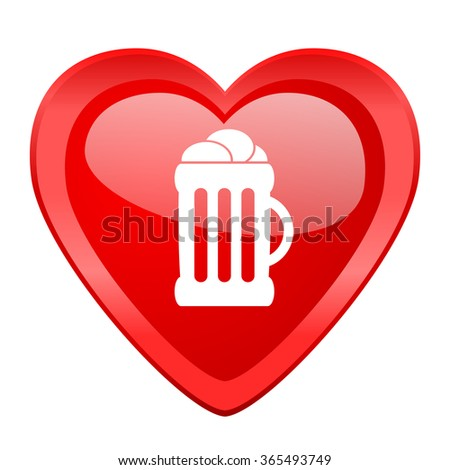 Beer Red Heart Valentine Glossy Web Icon