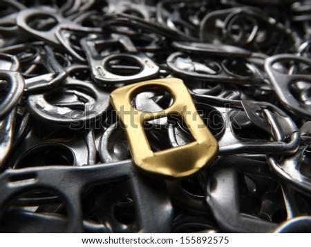 Beer tabs black background macro - stock photo