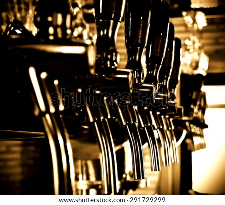 Beer taps array vintage style - stock photo
