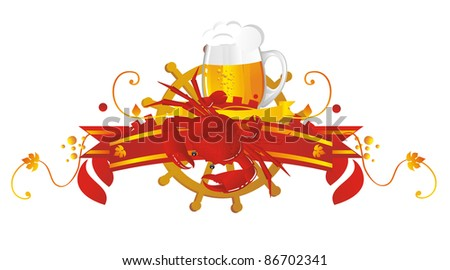 Beer vignette in sea style - stock photo