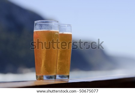 Beer with a view - stock photo