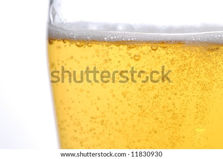 beer with bubbles close up