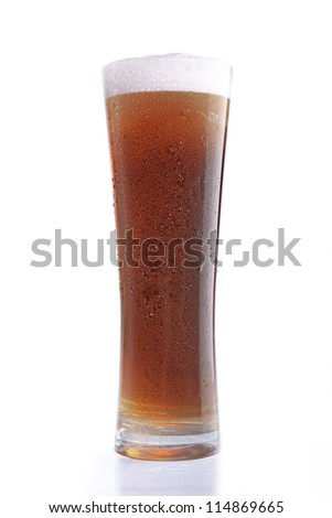 beer with drops of moisture on the glass - stock photo