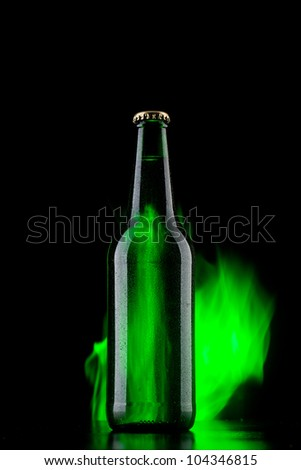 Beer with fire - stock photo
