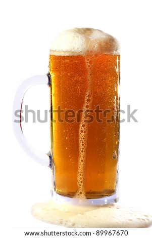Beer with foam isolation on a white background