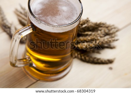 Beer with grain - stock photo