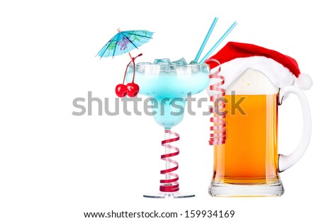 Beer with hat of Santa Claus and cocktail isolated on white - stock photo