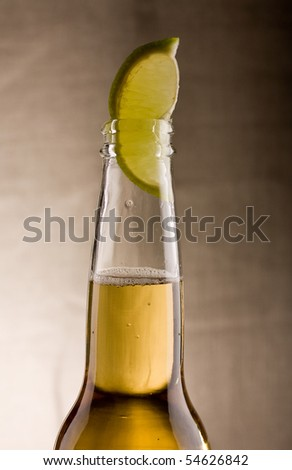 beer with lime close up look tasty - stock photo
