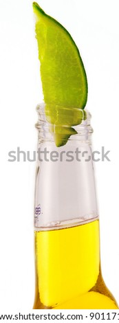 Beer with Lime Isolated on White Background