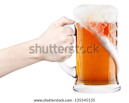 beer with man hand making toast isolated