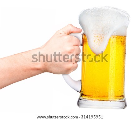 beer with man hand making toast isolated on a white background - stock photo
