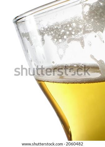 Beer within mug close-up over white background - stock photo