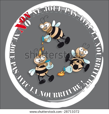 bees playing with food - stock photo