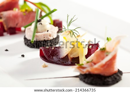 Beet Canapes with Goat Cheese - stock photo