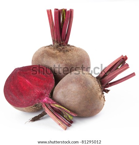 Beet purple vegetable isolated on white background - stock photo