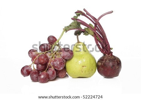 beet root grape and pear - stock photo