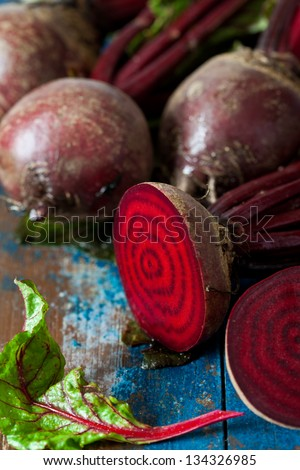 Beet root on wooden background - stock photo