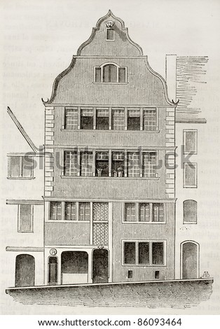 Beethoven birth house old illustration, Bonn, Germany. By unidentified author, published on Magasin Pittoresque, Paris, 1842 - stock photo