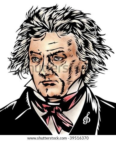 Beethoven illustration - stock photo