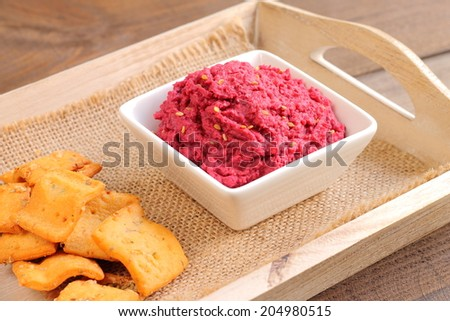 Beetroot and chickpea hummus - stock photo