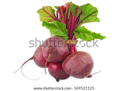 beetroot bunch isolated on white - stock photo