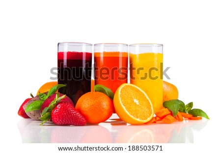 Beetroot, orange and carrot juice isolated on white background. Healthy drinks with fresh fruits. - stock photo