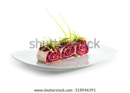 Beetroot Salad in Pita Wrap - stock photo