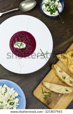 Beetroot soup with focaccia