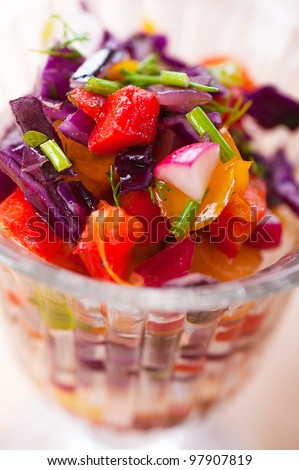 Beets, Carrots, Turnips, Pickles and Onion Salad Known as Russian salad - stock photo