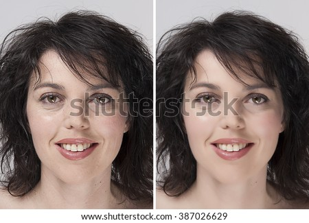 before - after rejuvenation - stock photo