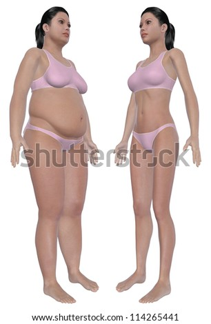 Before and after angled front view illustration of a overweight female and a healthy weight female after dieting and exercising. Isolated on a solid white background. - stock photo