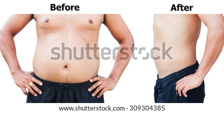 before and after body man fat belly after weight loss - stock photo