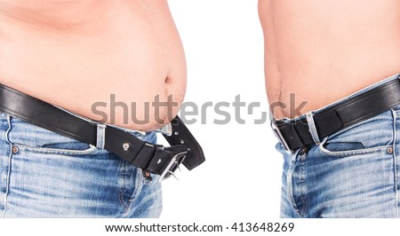 Before and After Body Young Man Fat Belly  - stock photo