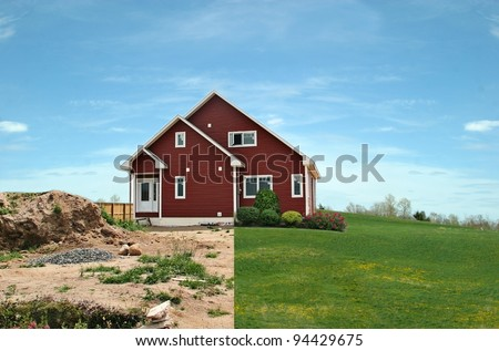 Before and after landscaping in one photo - stock photo