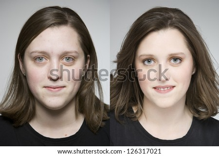 Before and after makeover photos of young woman - stock photo